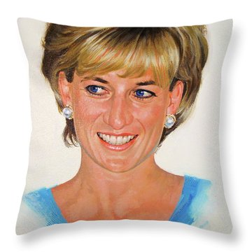 Throw Pillow featuring the painting Princess Diana by Cliff Spohn