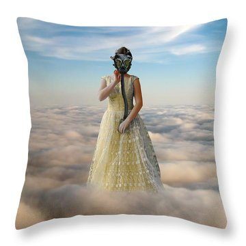 Princess In Gas Mask 3 Throw Pillow by Jill Battaglia