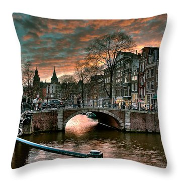 Prinsengracht And Reguliersgracht. Amsterdam Throw Pillow