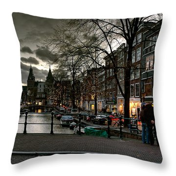 Prinsengracht And Spiegelgracht. Amsterdam Throw Pillow