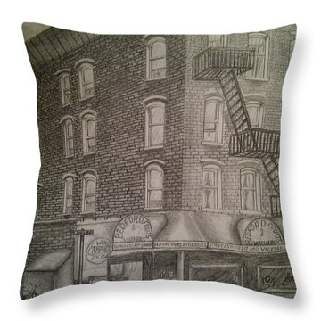 Produce Market In Brooklyn Throw Pillow by Irving Starr