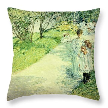 Promenaders In The Garden Throw Pillow by Childe Hassam