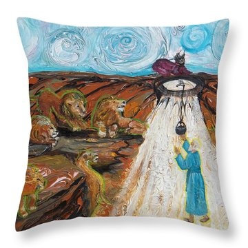 Prophetic Message Sketch 15 Daniel The Lion's Den And The Whirlwind Throw Pillow