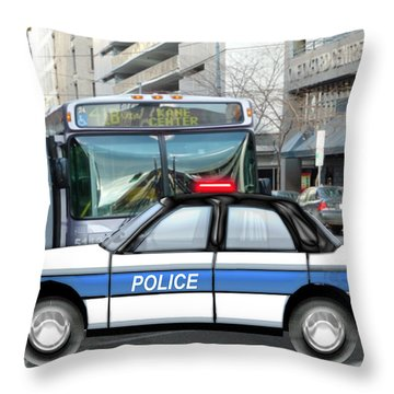 Proud Police Car In The City  Throw Pillow by Elaine Plesser