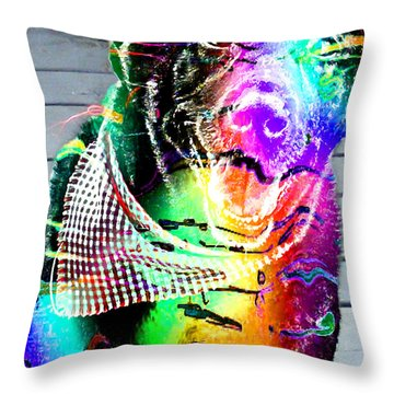 Psychedelic Black Lab With Kerchief Throw Pillow by Barbara Griffin