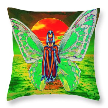 Psychedelic Butterfly Throw Pillow by Matthew Lacey