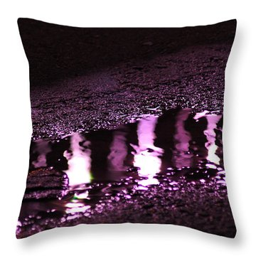 Throw Pillow featuring the photograph Puddle In Purple Reflection by Carolina Liechtenstein