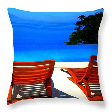 Puerto Vallarta Pool Throw Pillow by Randall Weidner