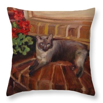 Throw Pillow featuring the painting Puff by Carol Berning