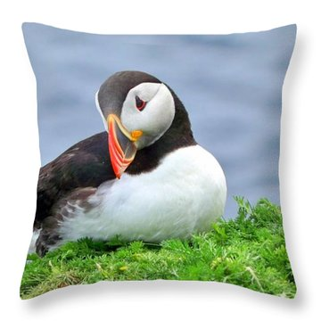 Throw Pillow featuring the photograph Puffin by Lynn Bolt