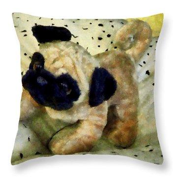 Pug On Pillow Throw Pillow by Susan Savad