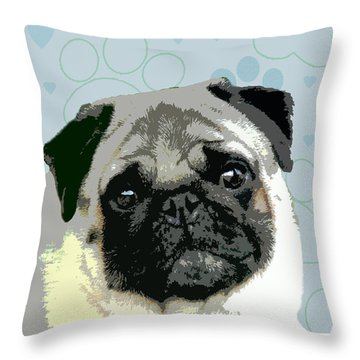 Pug Throw Pillow by One Rude Dawg Orcutt