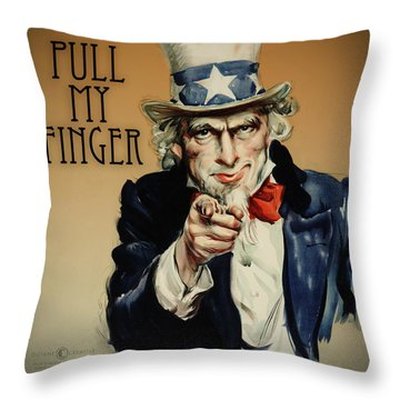 Pull My Finger Poster Throw Pillow by Tim Nyberg