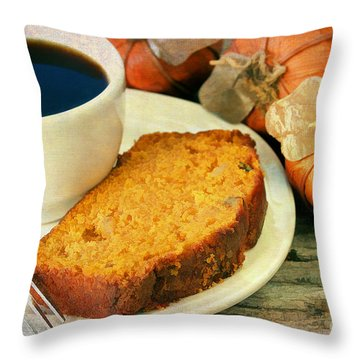 Pumpkin Bread And Coffee Throw Pillow by Darren Fisher