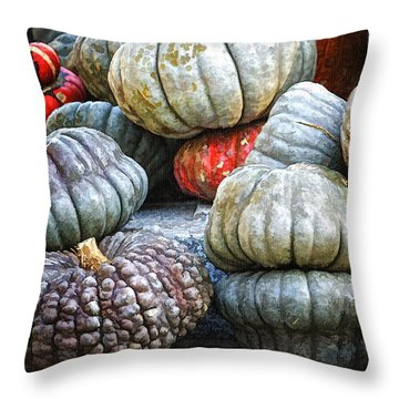 Pumpkin Pile II Throw Pillow by Joan Carroll