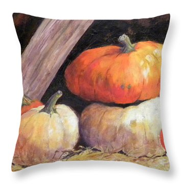 Pumpkins In Barn Throw Pillow