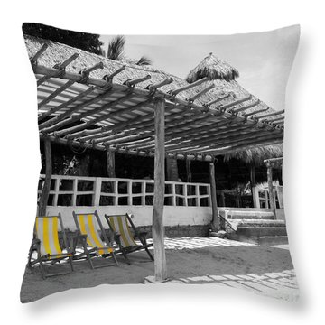 Throw Pillow featuring the photograph Punta Mita North Of Puerto Vallarta Mexico Three Amigos Color Splash Black And White by Shawn O'Brien