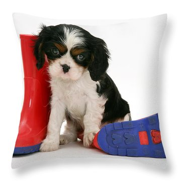 Puppies With A Childs Rain Boots Throw Pillow by Jane Burton