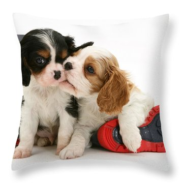 Puppies With Rain Boots Throw Pillow by Jane Burton
