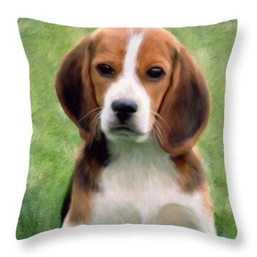 Puppy Portrait Throw Pillow by Snake Jagger
