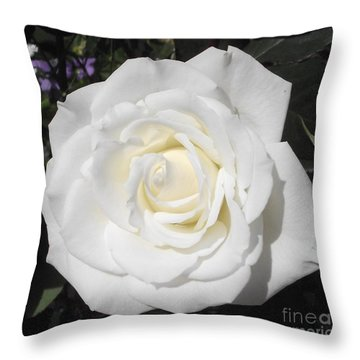 Pure White Rose Throw Pillow
