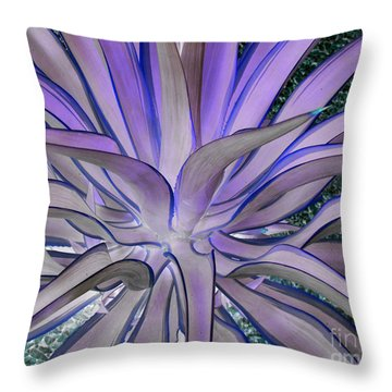 Purple Aloe Throw Pillow by Rebecca Margraf