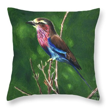 Purple And Blue Bird Throw Pillow