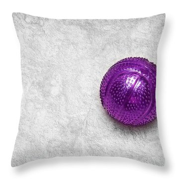 Purple Ball Cat Toy Throw Pillow by Andee Design