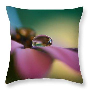 Purple Daisy Droplet Throw Pillow by Kym Clarke