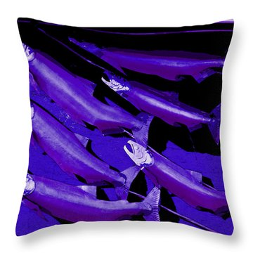 Purple Fish Art Throw Pillow by Kym Backland