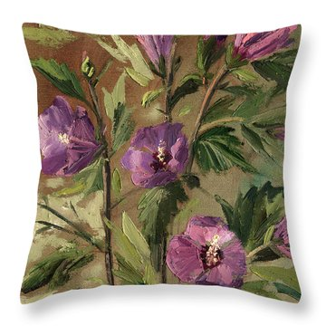 Purple Flowers 2 Throw Pillow