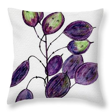 Throw Pillow featuring the drawing Purple Honesty Seed Heads by Barbara Moignard