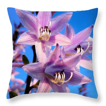 Throw Pillow featuring the photograph Purple Hosta Blooms by Davandra Cribbie