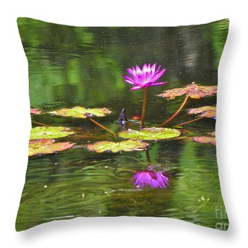 Throw Pillow featuring the photograph Purple Lily Pad by Eve Spring