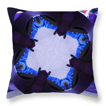 Throw Pillow featuring the photograph Purple Magic Fingers Chair by Kym Backland