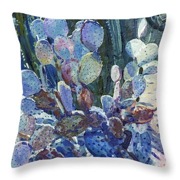 Throw Pillow featuring the painting Purple Opuntia by Donald Maier