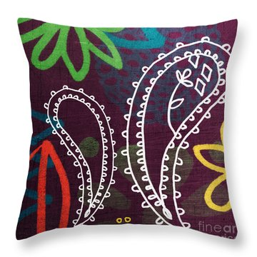 Purple Paisley Garden Throw Pillow by Linda Woods