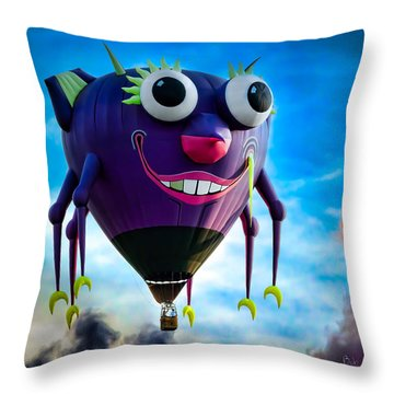 Purple People Eater Throw Pillow by Bob Orsillo