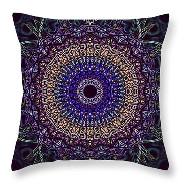 Purple Petal Mandala Throw Pillow