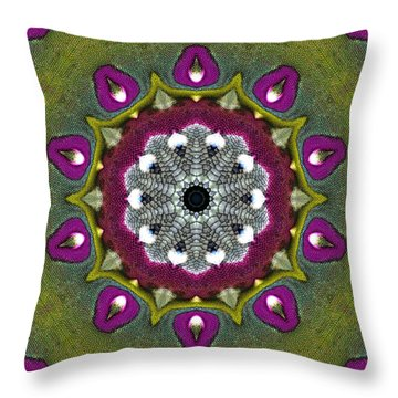 Throw Pillow featuring the digital art Purple Snakeskin Flower by Alec Drake