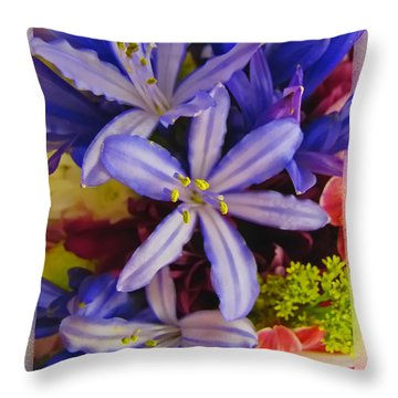 Purple Stars Throw Pillow by Debbie Portwood