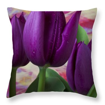 Purple Tulips Throw Pillow by Garry Gay