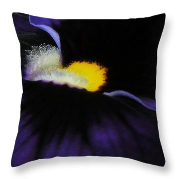 Throw Pillow featuring the photograph Purple Viola Abstract by Deborah Smith