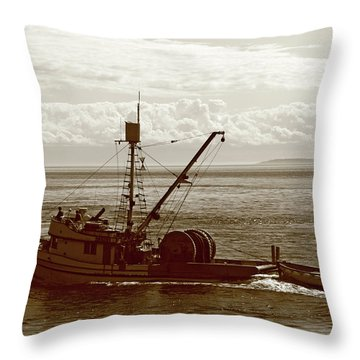 Throw Pillow featuring the photograph Purse Seine Departure by Lorraine Devon Wilke