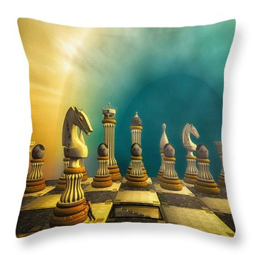 Pushing Back The Knight Throw Pillow by Bob Orsillo