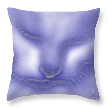 Digital Puss In Blue Throw Pillow by Linsey Williams