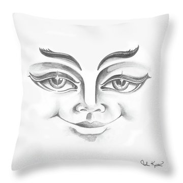 Put On Your Happy Face  Throw Pillow by John Keaton