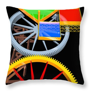 Pythagorean Machine Portrait 7 Throw Pillow by Russell Kightley