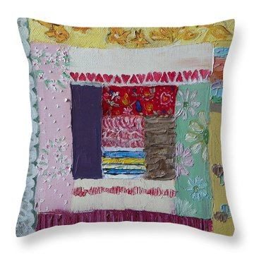 Q Is For Quilt Detail From Childhood Quilt Painting Throw Pillow