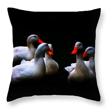 Throw Pillow featuring the photograph Quackery Quintet by Ola Allen